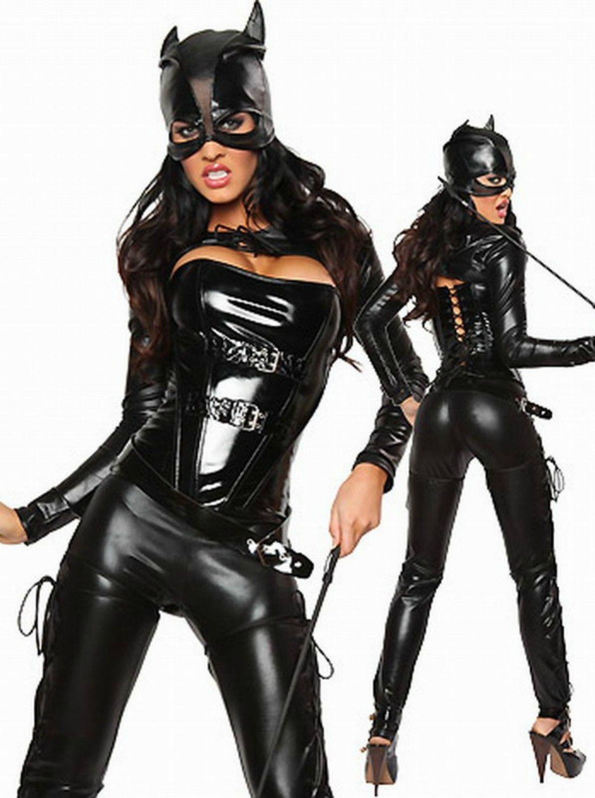 2017 Sexy Black Vinyl Dominatrix Catsuit Costume Mask Corset S, M ...