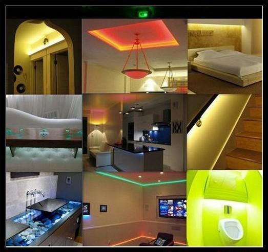 Billiga RGB LED-remsa Vattentät 5m SMD 5050 300 LED / Rull +44 Keys IR Remote + 12V 5A Strömadapter