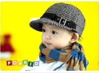 Wholesale Duck Ear Cap - Kids Hats Baby Hats Children Caps Boy Girl Caps Fashion wool grid Hat Duck tongue berets Cap