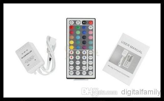 Pas cher LED Bande Lumière RGB 5 M 3528 SMD 300Led Étanche IP65 + 44Key Contrôleur + 12 V 2A Alimentation Transformateur avec la boîte de Noël Cadeaux