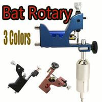 Wholesale Tube Inks Tattoo - Bat Rotary Tattoo Machine 3 Colors For Tattoo Gun Kits Ink Needle Tubes Tips & Gun Box Sent For Gift