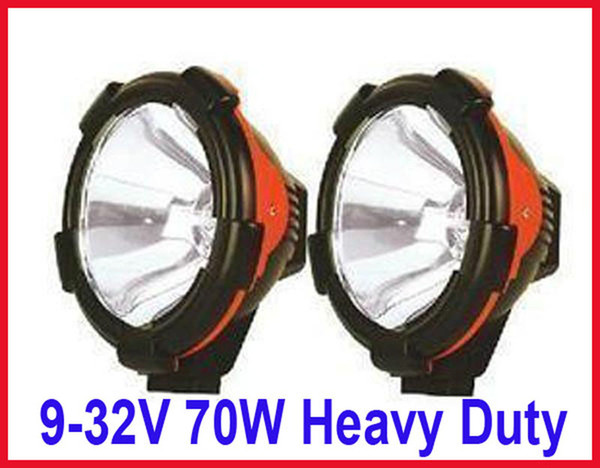 "PAIR 9"" 70W POWER HID XENON DRIVING FLOOD 9-32V SUV ATV OFFROAD FORTLIFT LIGHT 4WD INTERNAL BALLASTS"