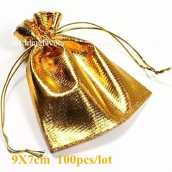 9x7cm,!metallic Gold Pouch/Gift Bag Favors,Gold Plated Satin Gift ...