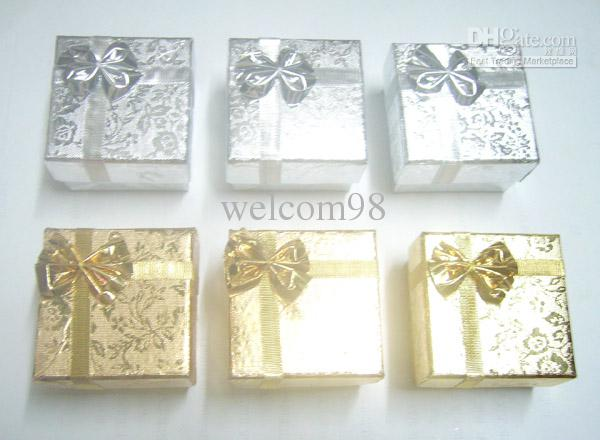 / mezcle colores anillo pendiente joyero cajas para el regalo de moda Pantalla de embalaje 5x5x3cm BX7 *