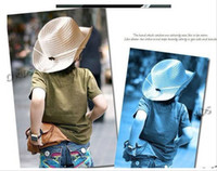 Wholesale Hats Star - baby summer Straw hats kids five star sun caps baby cowboy hat children top hat jazz cap baby topee