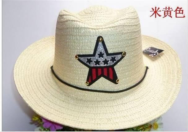 Bebê verão Chapéus De Palha crianças cinco estrelas bonés de sol do bebê chapéu de cowboy crianças top hat jazz cap baby topee
