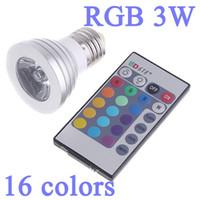 Wholesale E27 12v Rgb - IR Wireless Remote Control 16 Color Change RGB LED spotlight 3W Dimmable E27 MR16 gu10 e14