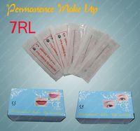 Wholesale Permanent Makeup Needles 7rl - 100pcs Box 7RL Permanent Makeup Eyebrow Lip Needles Sterilized Round 7 Size Cosmetic Kits Supply