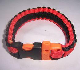 Wholesale Wholesale Custom Whistles - factory 1000pcs lot Custom 550 Paracord Parachute survival Bracelets Hand Made whistle 48 color
