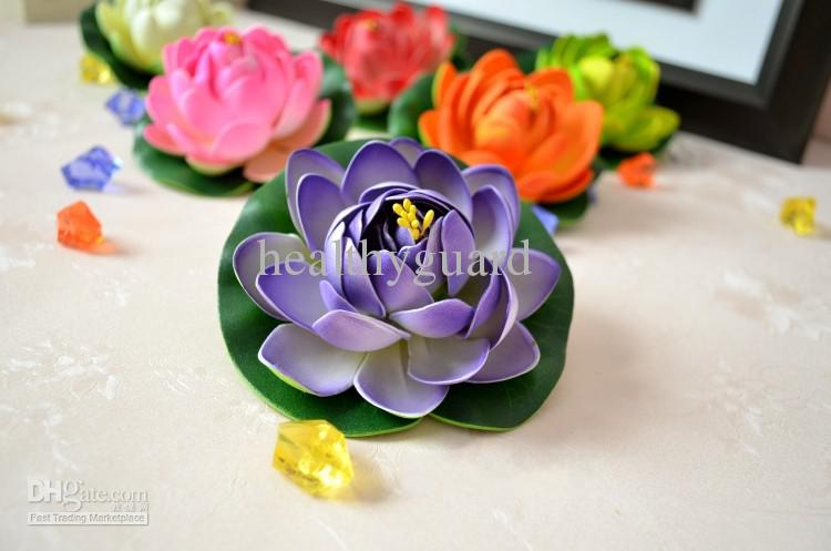 Simulación de Seda Artificial Flor Artificial Lotus flotante agua del jardín peces tanque decoración