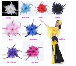 Wholesale Silk Ribbon Dance - 10pcs lot 9colors Belly Dancing Tribal Party Wedding Costume Headdress Head Flower Pin Brooch Clip