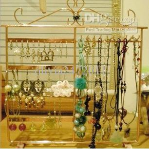 Ny HotSale 48 Hole 10 Hook Multi-Function Halsband / Armband / Örhängen / Smycken Display Rack Stand HT1