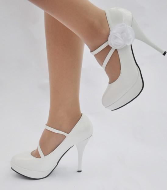 Popular New White Wedding Shoes High Heel Flowers Party Evening Bridal