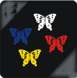 Wholesale Wall Sticker Wholesale China - 100PR LOT Cheap Wholesale Butterfly Stickers Decals For Car Wall Reflctive 18*5cm From China