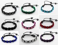Wholesale Square Shamballa Bracelets - shamballa Square Bracelet Pave Crystal Rhinestone Beads 10pcs