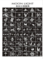 Wholesale Tattoo Glitter Stencil Sheets - Glitter tattoo Stencils for Body art Painting airbrush Temporary Tattoo kits 50 sheets,mixed designs free shipping