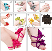 Wholesale Kind Baby Shoe - 10pcs lot 10 kinds of Color Barefoot Socks Sandals Shoes Flowers Feet Toes Baby Blooms
