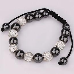 Wholesale Shamballa Clay Pave Beads - shamballa Bracelets Micro Pave CZ Disco Ball with Hematite bead bracelet 5pcs