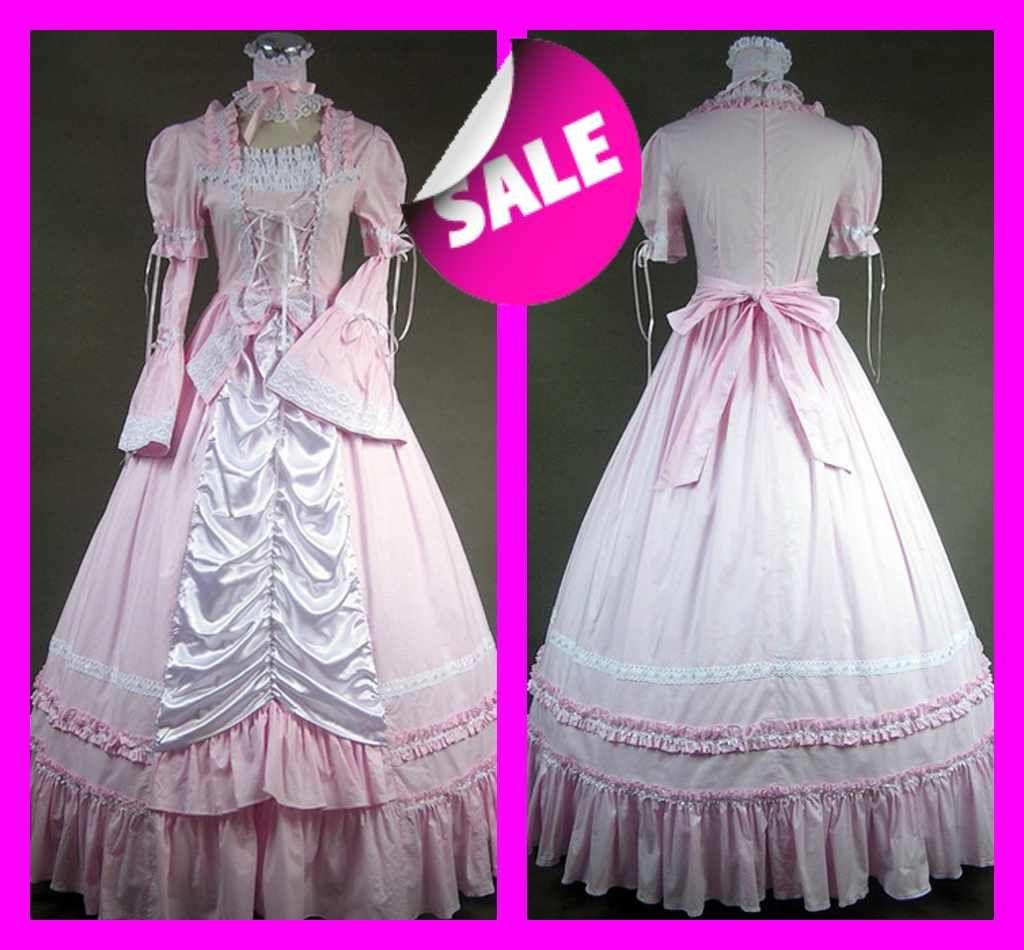 Discount Vintage Black Gothic Wedding Dresses A Line: Discount Pink Vintage Gothic Victorian Wedding Dresses