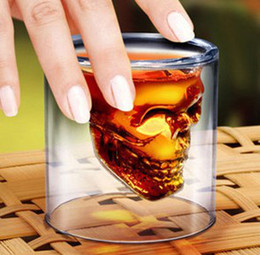 Wholesale Skull Head Cup Shot - Crystal Skull Head Vodka Shot Glass Pirate Glasses Beer Mug 2.5 ounces new cup