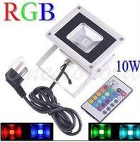 Wholesale Flash Floodlight - RGB 10W Flood light with plug US EU AU UK Plug Cable 16 Color RGB Flash Landscape LED Outdoor Waterproof IP66 Floodlight 85V-265V