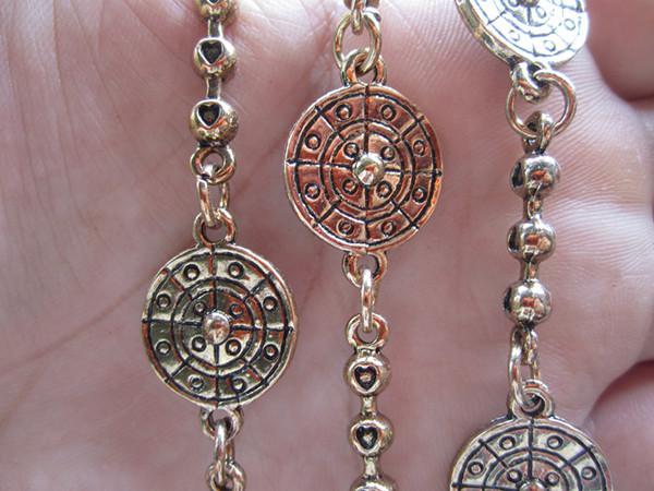 Partihandel - Rund metallkedja Antik guldpläterad halsband Kedja 15mm, 3feet / st
