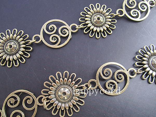 Partihandel - Antik bronspläterad metall tibetansk stil solros kedja 30mmx30mm, 3feet /