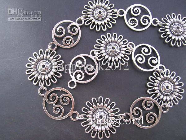 Atacado-- Antique Prata Banhado A Metal Estilo Tibetano Bela Flor Cadeia 30mmx30mm, 3 pés / pcs