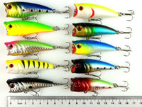Wholesale Minow Bait - 2015 60mm Crank Popper Fishing lures 6CM 7G 8# hooks fishing tackle Minow Lure Bait 2 tooks 10 colors popper bait