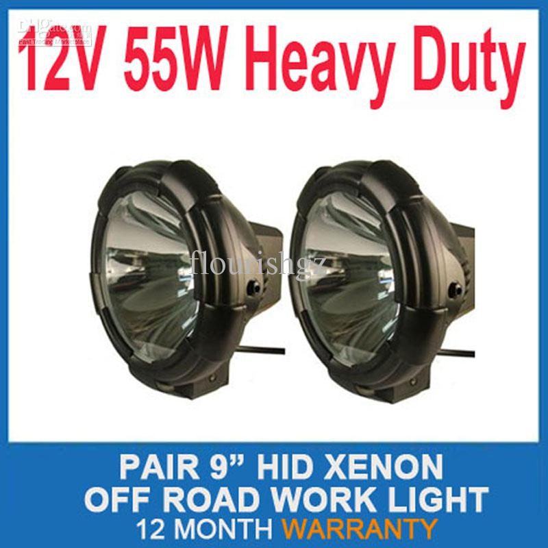"PAIR 9"" 70W POWER HID XENON DRIVING LIGHT SUV ATV SPOT/FLOOD BEAM TRUCK OFF-ROAD 9-32V 3200lm BLACK"