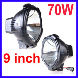 "Wholesale Hid Xenon Driving Lighting Kits - PAIR 9"" 70W POWER HID XENON DRIVING LIGHT SUV ATV SPOT FLOOD BEAM TRUCK OFF-ROAD 9-32V 3200lm BLACK"