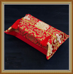 Wholesale Luxury Napkins Wholesale - Happy Flower Removable Tissue Boxes Cover Chinese style High quality Rectangle Fashion Simple Luxury Silk Brocade Tassel Paper napkin sleeve