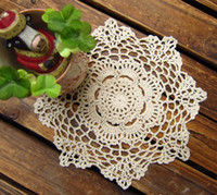 Wholesale Hand Crocheted Doilies - Free shipping 100% cotton hand made Crochet cup mat,Ecru Doily ,Natural color 20CMX20CM 20pcs lot
