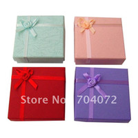 Wholesale Bracelets Jewerly Boxes - free shipping 8*8*2cm jewerly accessory gift box square colorful packing necklace bracelet ring ear