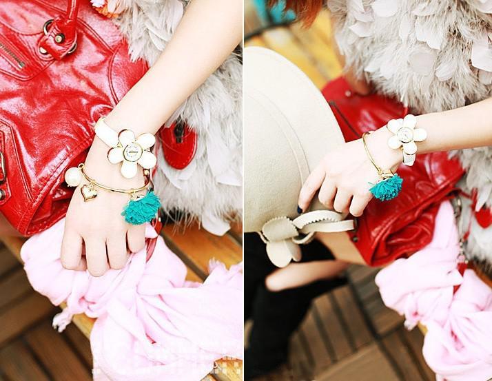 Daisy Of Love Chiffon Flowers Bracelets Pearl Bracelets