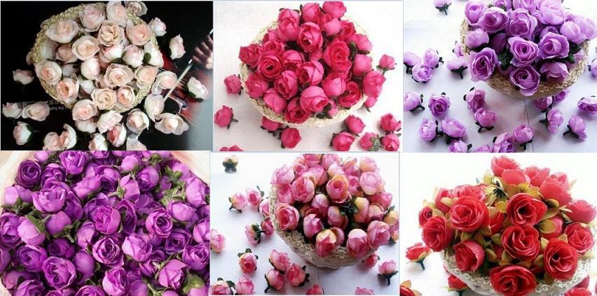 Type-4 100 stks Hot Pink Roses Kunstmatige Zijde Bloemhoofden Bruiloft Bridal Bouquet Decoratie 1.18
