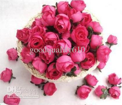 Type 4 Hot Pink Roses Artificial Silk Flower Heads Wedding Bridal ...