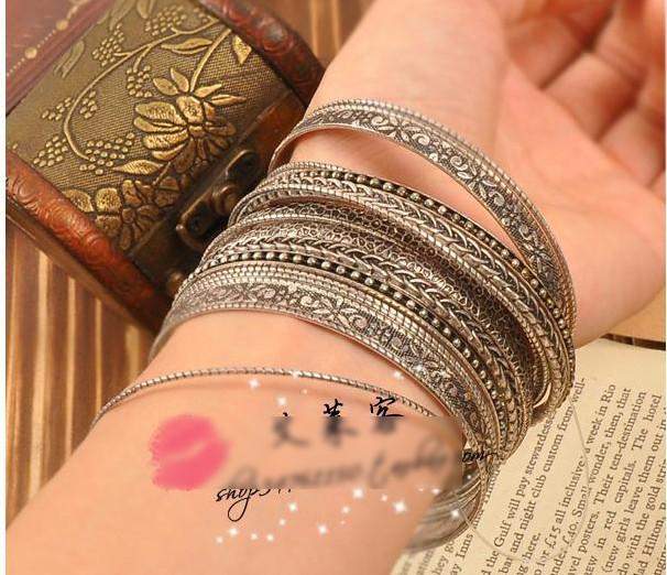 Retro Elemente Armbänder Wild Ancient Silver Multilayer Armbänder