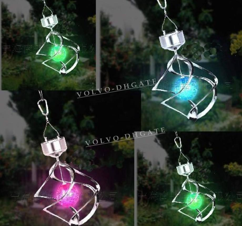 2017 New Solar Color Changing Garden Yard Wind Spinner Hang Spiral