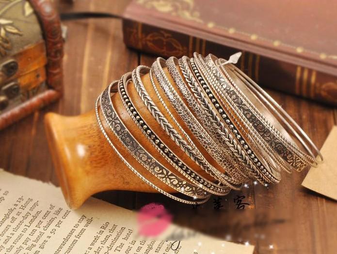 Retro-elementen Armbanden Wilde oude zilveren meerlagige armbanden