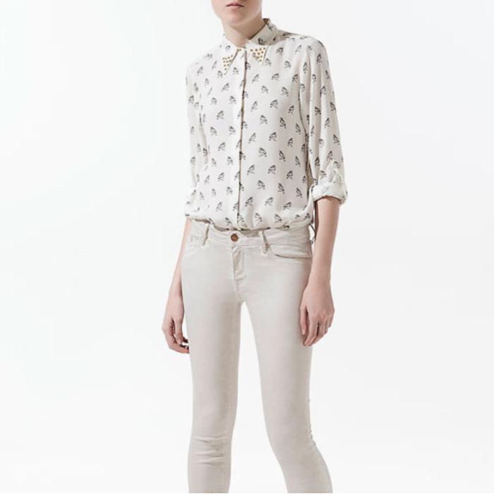 2017 New Women Shirt Bird Printed Shirt Chiffon Shirt Long Sleeve ...