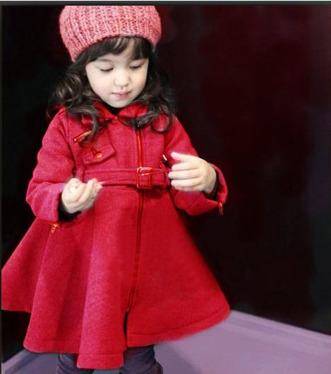 2012 Baby Girls Coat ,Wool Coat ,Black/Red Overcoat Girls Warm ...