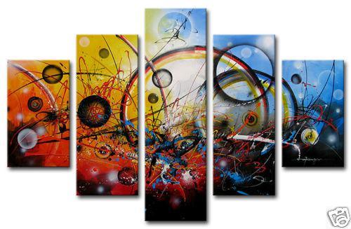 Konst modern abstrakt oljemålning på kanfas Färgglada vardagsrumsinredning 5 stycken högkvalitativ konstförsäljning