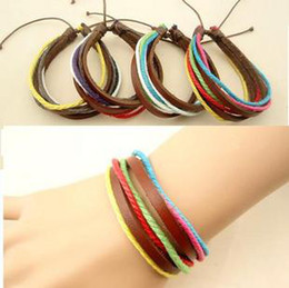 Wholesale Tribal Bracelets Men - Classic Vintage Tribal Leather Bracelet Colorful Braided Bracelets for men women