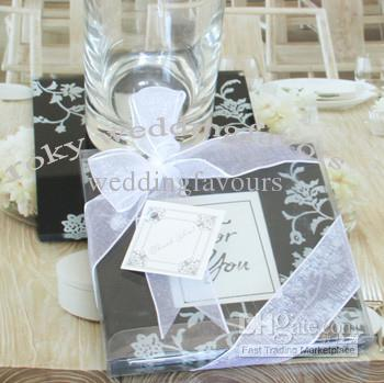 Free Shipping!30pcs/lot,Black &White Timeless Traditions Elegant Glass Photo Coaster wedding favors