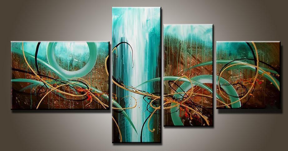 Sanat Modern Soyut Yağlıboya Çoklu Parça Tuval Sanat 4 Parça Setleri Yeşil Tutku Yeni Gelenler
