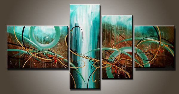 top popular Art Modern Abstract Oil Painting Multiple Piece Canvas Art 4 Pieces Sets Green Passion New Arrivals 2019