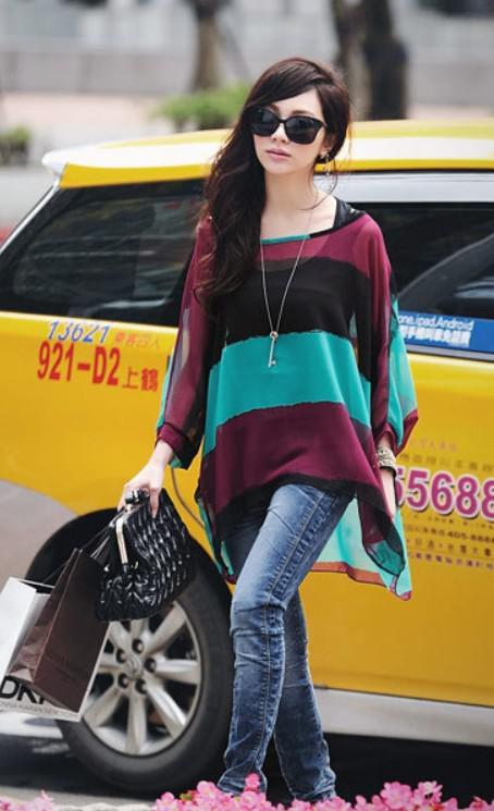 Hot Womens Fashion deux pièces blouses colorées rayures manches chauve-souris manches Tops Blouse vert / rouge