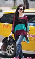 Wholesale Bat Wing Tops - Hot Womens Fashion Two-piece Blouses Colorful Stripe Bat-wing Sleeve Chiffon Tops Blouse Green Red