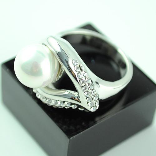anneaux de feuille et de perle, beaux anneaux bijoux pour les femmes, bijoux en alliage de strass.RN-494